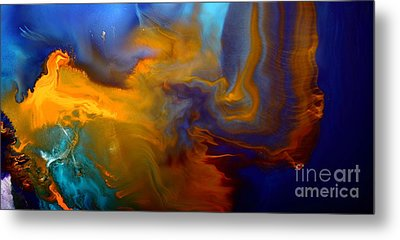 Abstract Fluid Art Escape Into The Unknown Liquid Painting Macro Photography By Kredart Metal Print by Serg Wiaderny