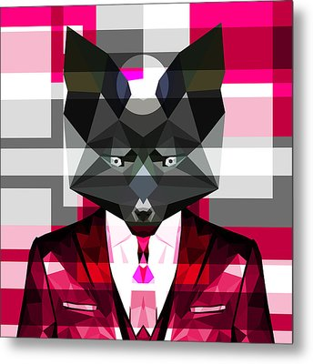 Abstract Fox Metal Print by Gallini Design