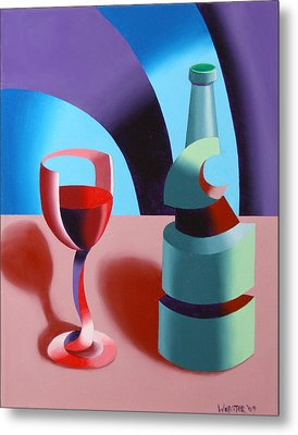 Metal Print featuring the painting Abstract Futurist Wine And Glass Still Life Oil Painting by Mark Webster