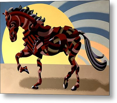 Metal Print featuring the painting Abstract Geometric Futurist Horse by Mark Webster