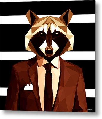 Abstract Geometric Raccoon Metal Print by Gallini Design