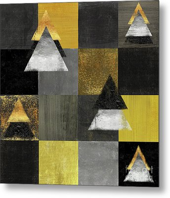 Abstract Geometric Square And Triangle Design Metal Print by Tina Lavoie