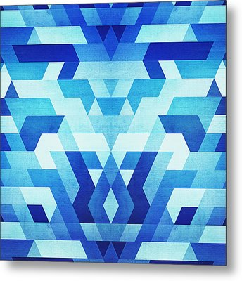 Abstract Geometric Triangle Pattern Futuristic Future Symmetry In Ice Blue Metal Print