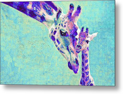 Abstract Giraffes Metal Print by Jane Schnetlage