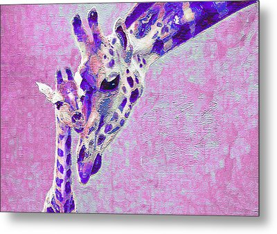 Metal Print featuring the digital art Abstract Giraffes2 by Jane Schnetlage