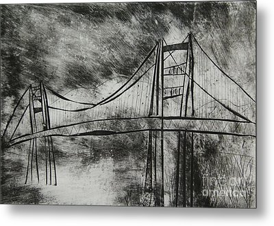 Abstract Golden Gate Bridge Black And White Dry Point Print Cropped Metal Print