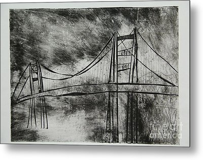 Abstract Golden Gate Bridge Black And White Dry Point Print Metal Print