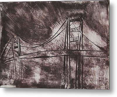 Abstract Golden Gate Bridge Dry Point Print Cropped Metal Print