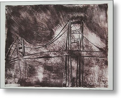 Abstract Golden Gate Bridge Dry Point Print Metal Print
