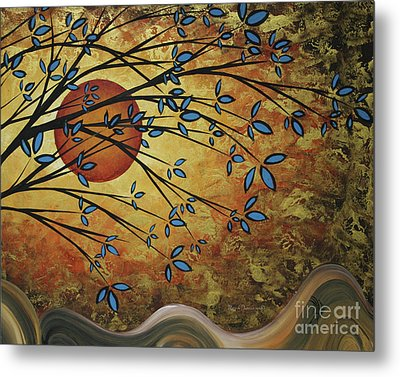 Abstract Golden Landscape Art Original Painting Peaceful Awakening I Diptych Set By Megan Duncanson Metal Print