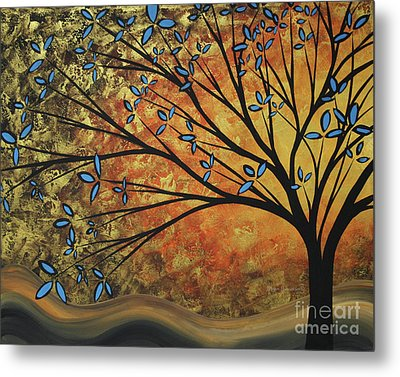 Abstract Golden Landscape Art Original Painting Peaceful Awakening II Diptych Set By Megan Duncanson Metal Print