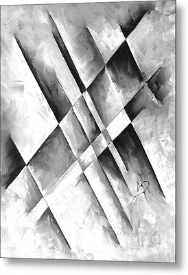 Abstract Gray Minimalist Contemporary Pop Art Painting Gray Scale I By Madart Metal Print by Megan Duncanson