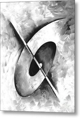 Abstract Gray Minimalist Contemporary Pop Art Painting Gray Scale II By Madart Metal Print by Megan Duncanson