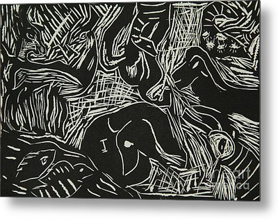 Abstract Greece Inspired Black And White Linoleum Print Cropped Metal Print by Marina McLain