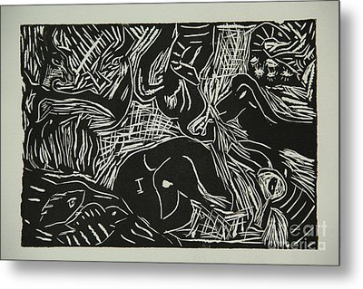 Abstract Greece Inspired Black And White Linoleum Print Metal Print by Marina McLain