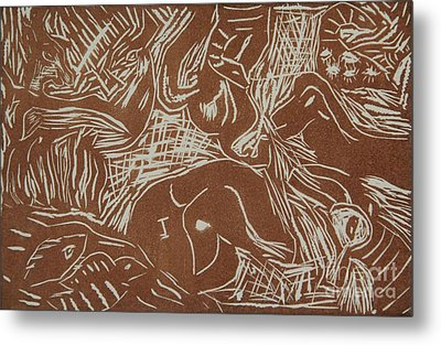 Abstract Greece Inspired Brown Linoleum Print Cropped Metal Print by Marina McLain
