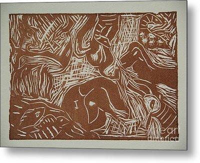 Abstract Greece Inspired Brown Linoleum Print Metal Print by Marina McLain