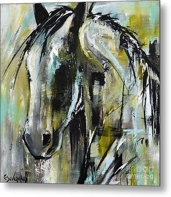 Metal Print featuring the painting Abstract Green Horse by Cher Devereaux