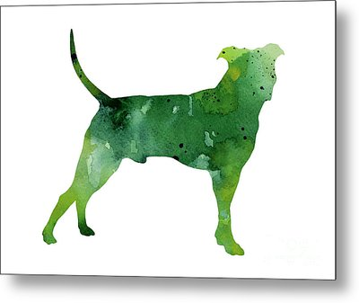Abstract Green Pitbull Watercolor Painting Metal Print by Joanna Szmerdt