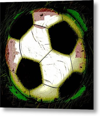 Abstract Grunge Soccer Ball Metal Print
