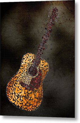 Metal Print featuring the mixed media Abstract Guitar by Michael Tompsett