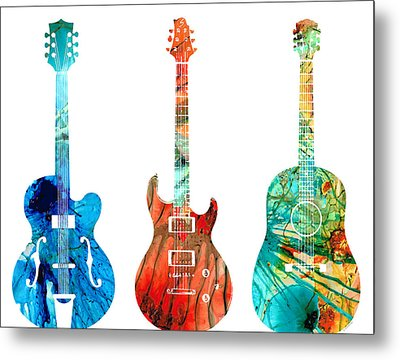 Abstract Guitars By Sharon Cummings Metal Print by Sharon Cummings