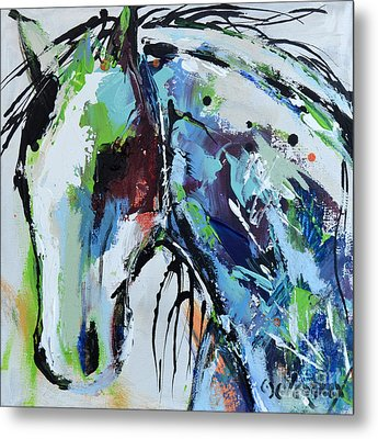 Metal Print featuring the painting Abstract Horse 18 by Cher Devereaux