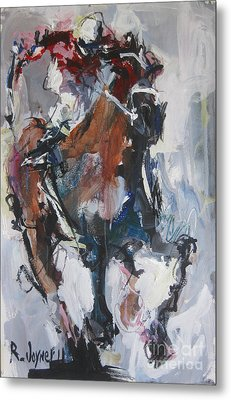 Metal Print featuring the painting Abstract Horse Racing Painting by Robert Joyner