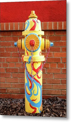 Abstract Hydrant Metal Print by James Eddy