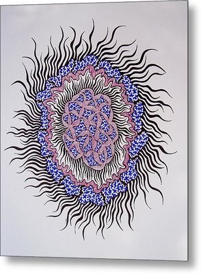 Metal Print featuring the drawing Abstract In Blue And Magenta by Beth Akerman