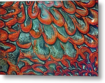 Abstract In Copper And Blue No. 7-1 Metal Print