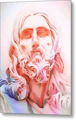 Metal Print featuring the painting Abstract Jesus 1 by J- J- Espinoza