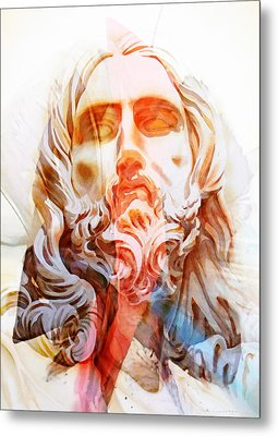 Metal Print featuring the painting Abstract Jesus 2 by J- J- Espinoza