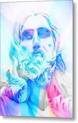 Metal Print featuring the painting Abstract Jesus 3 by J- J- Espinoza