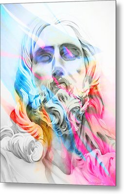 Metal Print featuring the painting Abstract Jesus 5 by J- J- Espinoza