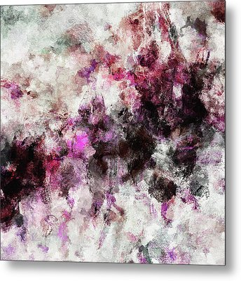 Metal Print featuring the painting Abstract Landscape Painting In Purple And Pink Tones by Ayse Deniz