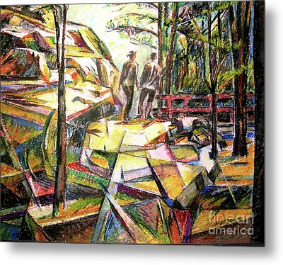 Abstract Landscape With People Metal Print
