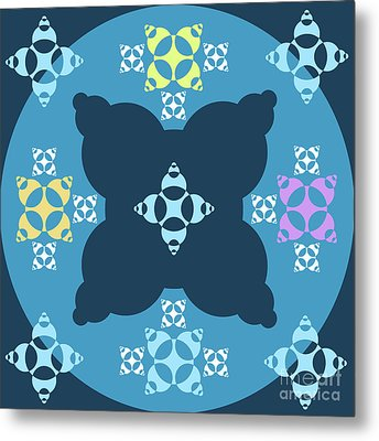 Abstract Mandala Blue, Dark Blue And Cyan Pattern For Home Decoration Metal Print by Pablo Franchi
