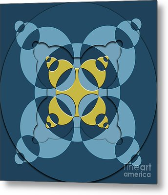 Abstract Mandala Blue, Dark Blue And Green Pattern For Home Decoration Metal Print by Pablo Franchi