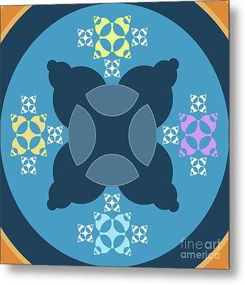 Abstract Mandala Blue, Orange And Cyan Pattern For Home Decoration Metal Print by Pablo Franchi