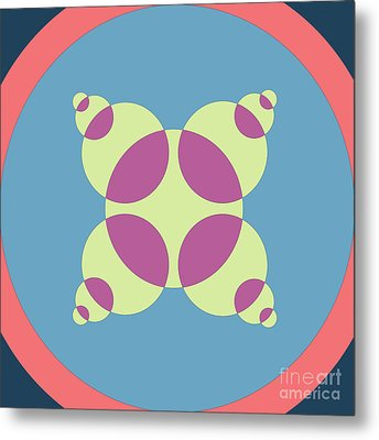 Abstract Mandala Orange, Black And Cyan Pattern For Home Decoration Metal Print by Pablo Franchi