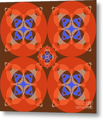 Abstract Mandala Orange, Brown, Blue And Cyan Pattern For Home Decoration Metal Print by Pablo Franchi