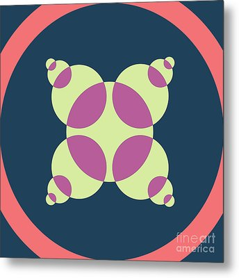 Abstract Mandala Pink, Dark Blue And Cyan Pattern For Home Decoration Metal Print by Pablo Franchi