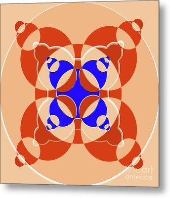 Abstract Mandala Pink, Orange And Blue Pattern For Home Decoration Metal Print by Pablo Franchi