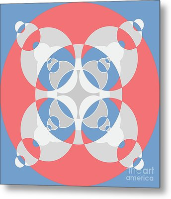 Abstract Mandala White, Pink And Blue Pattern For Home Decoration Metal Print by Pablo Franchi