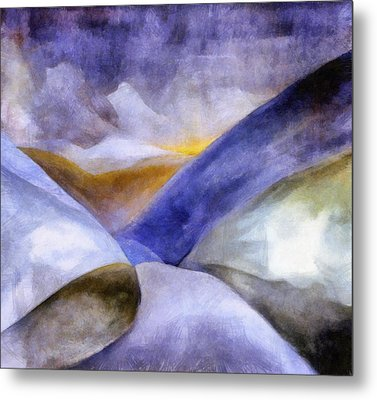 Abstract Mountain Landscape Metal Print by Michelle Calkins