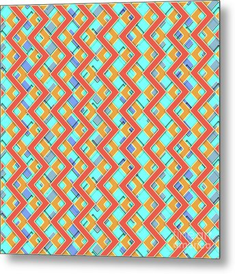 Abstract Orange, Cyan And Red Pattern For Home Decoration Metal Print by Pablo Franchi