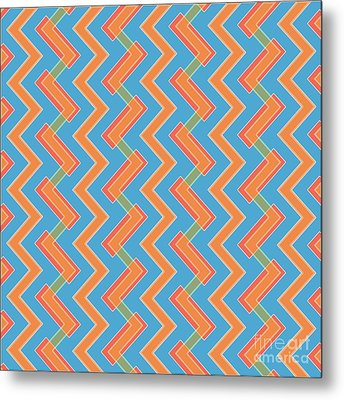 Abstract Orange, Red And Cyan Pattern For Home Decoration Metal Print by Pablo Franchi