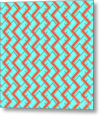 Abstract Orange, Yellow And Cyan Pattern For Home Decoration Metal Print by Pablo Franchi