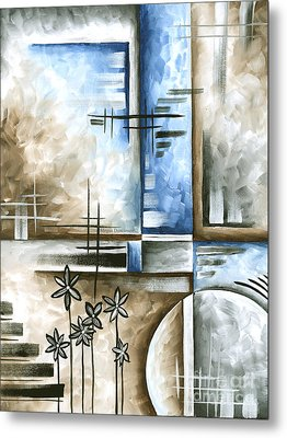 Abstract Original Art Contemporary Blue And Gray Painting By Megan Duncanson Blue Destiny II Madart Metal Print by Megan Duncanson